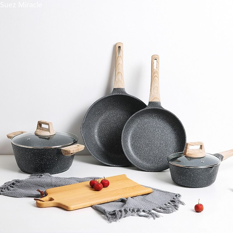 اواني المطبخ المنزليه لا تلتصق أواني المنيوم مقلاه إناء الحليب وعاء للحساء تجهيزات المطابخ الكوريهnon Stick Frying Pan Aluminum Table Frying Pan Fry Pan Set