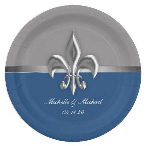 Blue Silver Fleur de Lis Personalized Paper Plates #fleurdelis #blue #neworleans #party  sc 1 st  Pinterest & Blue Silver Fleur de Lis Personalized Paper Plates #fleurdelis #blue ...