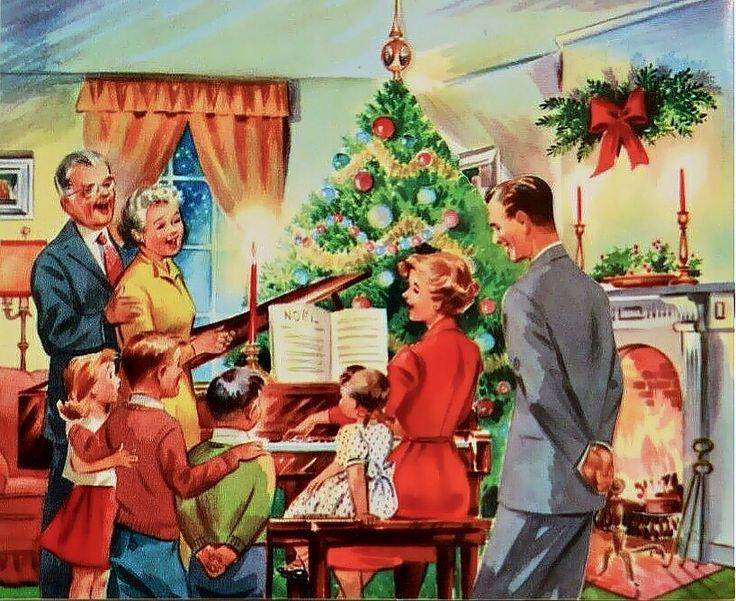 Family Around Christmas Tree Part - 38: 1064 Family Sings By The Tree Vintage Christmas Card Greeting