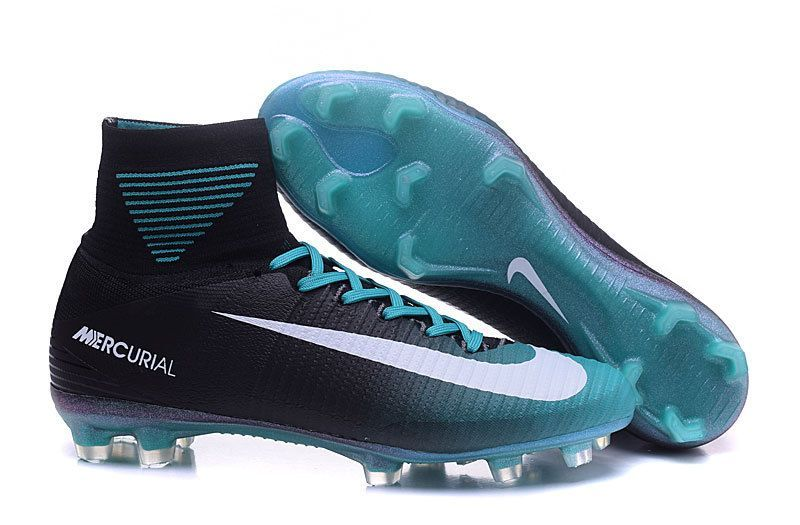 New 2016 17 Nike Mercurial Superfly V Id Fg Soccer Cleats Black White Blue Nike Football Boots Soccer Boots Nike Soccer Shoes