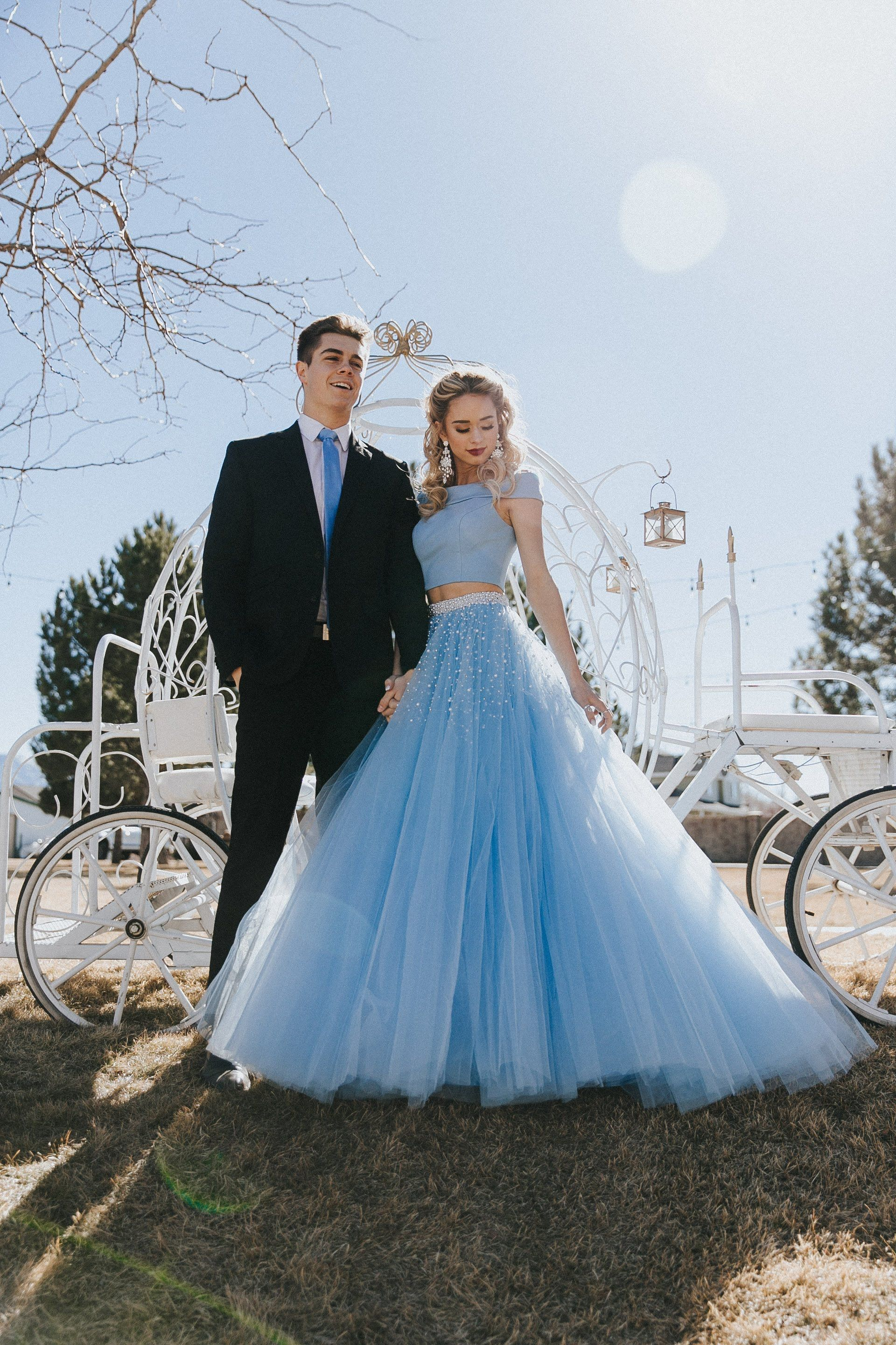 Sherri hill light blue ballgown piece with pearl detailing