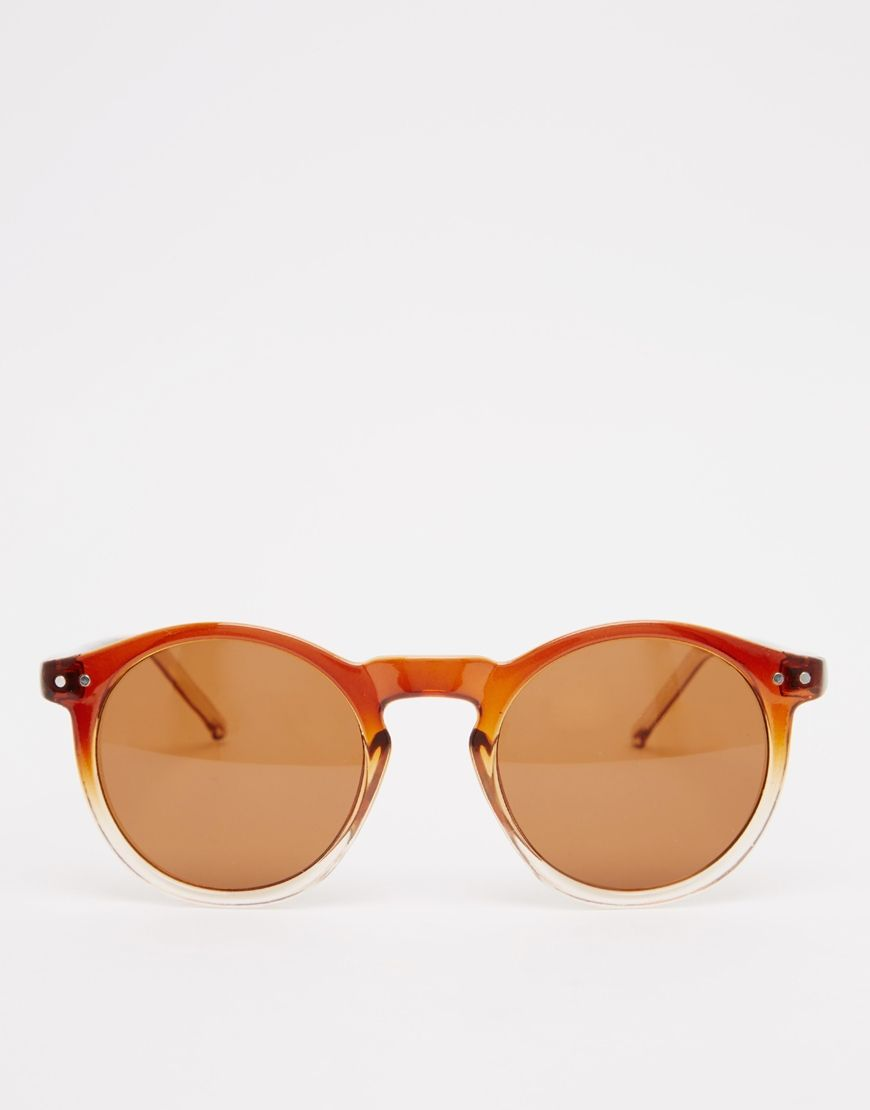 5a823fc7d2 Image 2 of ASOS Keyhole Round Sunglasses with Brown to Clear Fade Frame