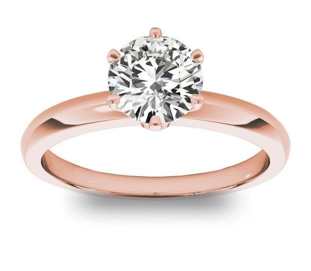 1.00ct (6.5mm) Round 14K Rose Gold 6 Prong Solitaire