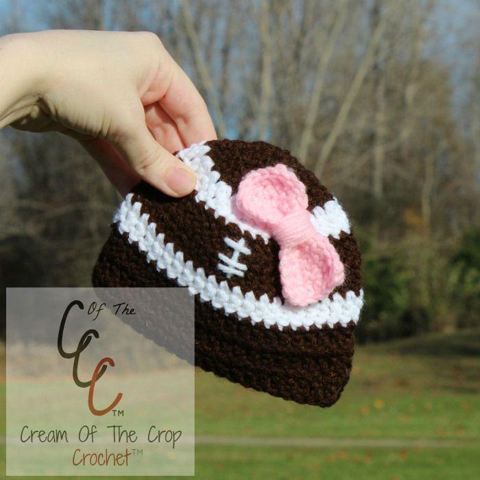 Cream Of The Crop Crochet Preemienewborn Bow Football Hat Free