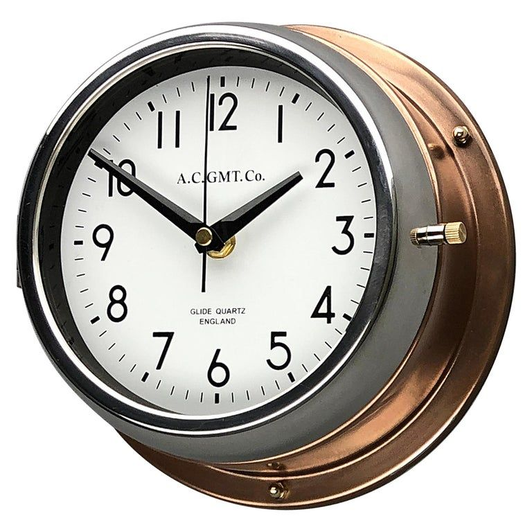 1970s British Bronze And Chrome Ac Gmt Co Industrial Wall Clock White Dial Industrial Clock Wall Antique Clocks For Sale Clock