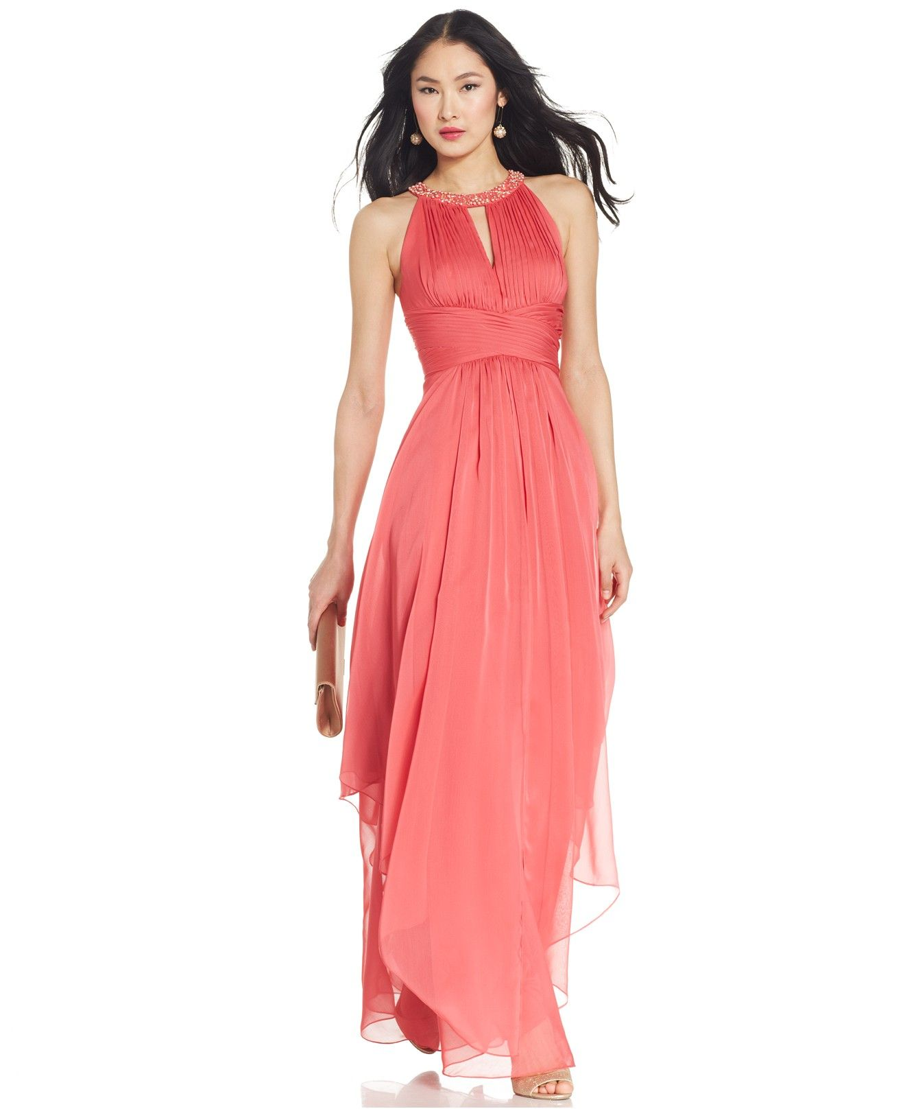 Macy's party dresses weddings  Adrianna Papell Embellished Pleated Chiffon Halter Gown  Dresses