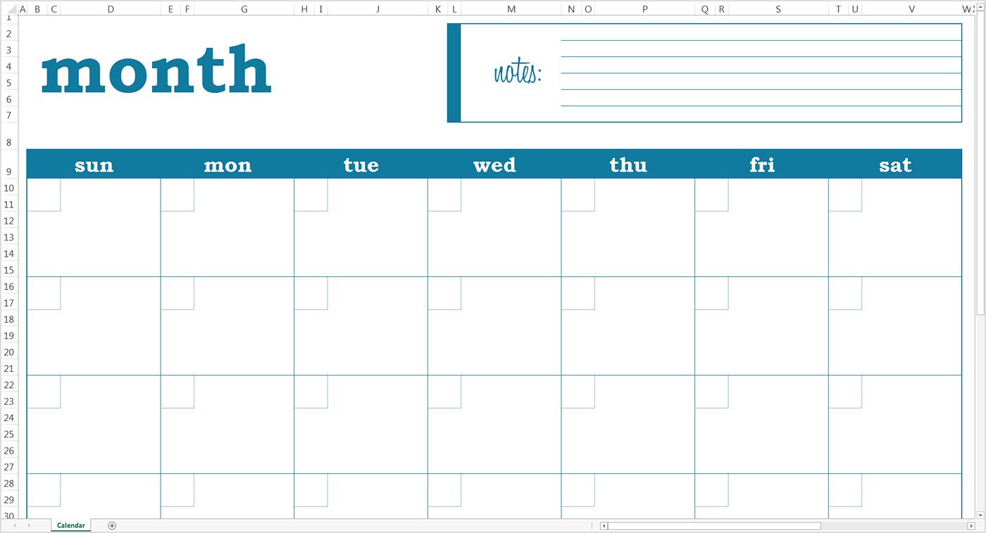 Monthly Calendar Template 2018 Google Sheet Blank