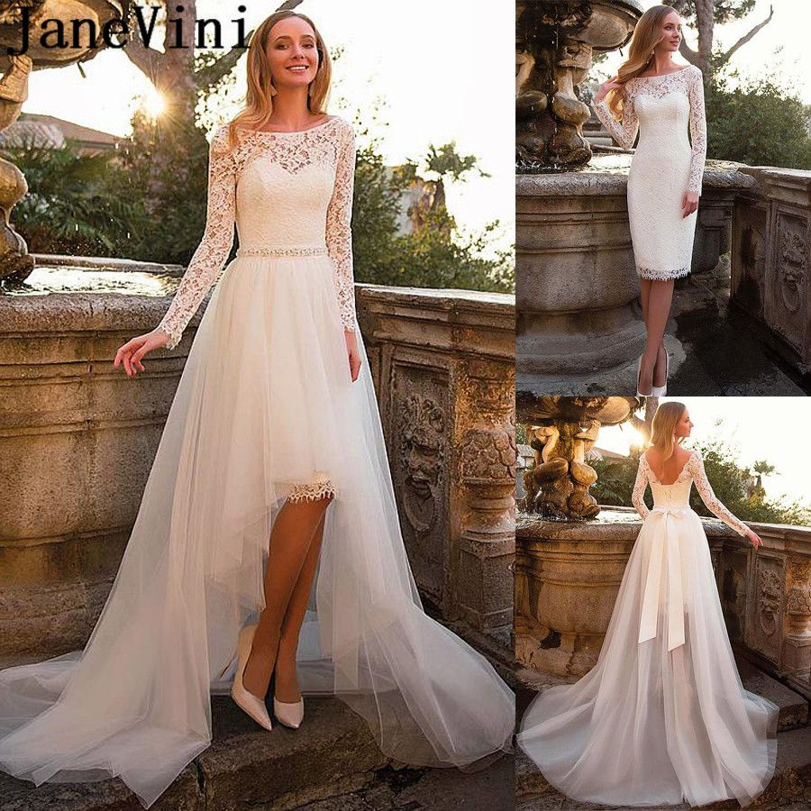 Janevini 2 In 1 Lace Wedding Dresses With Detachable Train Tulle Long Sleeve High Low B Wedding Dress Detachable Skirt Two Piece Wedding Dress Lace Bridal Gown [ 900 x 900 Pixel ]