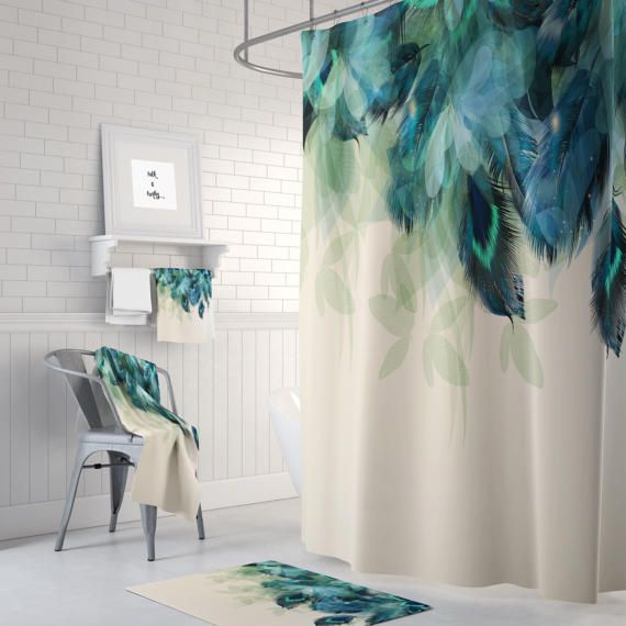 Shower Curtain Peacock Feather Floral Optional Bath Mat Set Bath