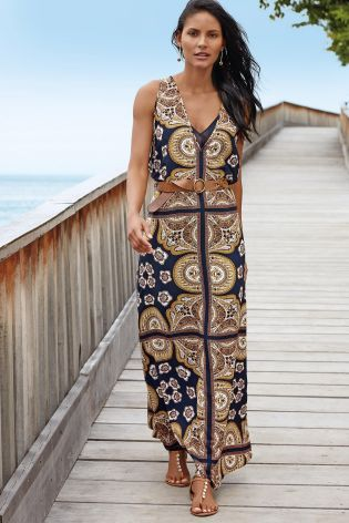 Buy Navy Scarf Print Layer Maxi Dress online today at Next: United ...