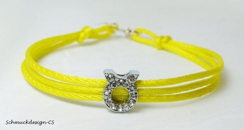 """Armband Satin gelb Sternzeichen """"Stier"""" Strass von Schmuckdesign-CS auf DaWanda.com"""