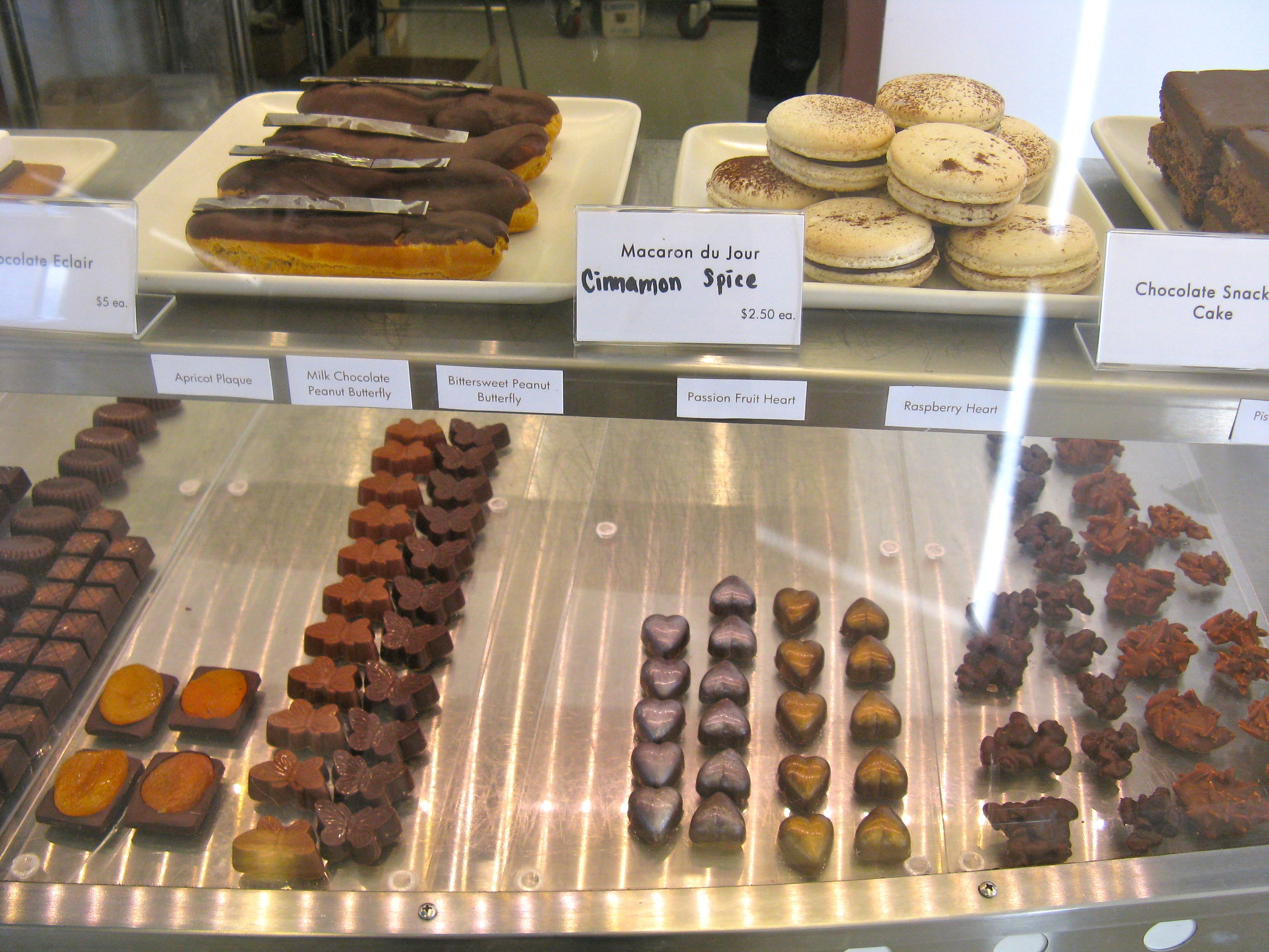 Chocolate eclairs and macaroons at Charles Chocolates | Charles ...