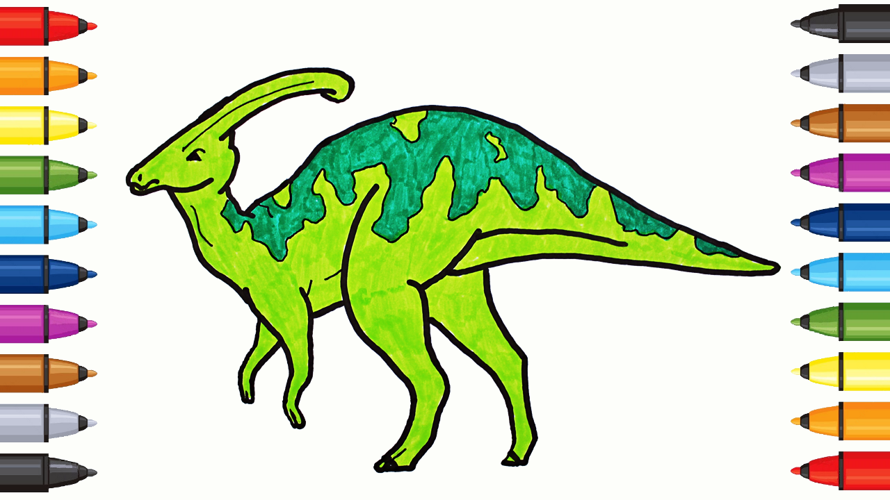 Drawing and Coloring Parasaurolophus - Coloring Dinosaurs with ...
