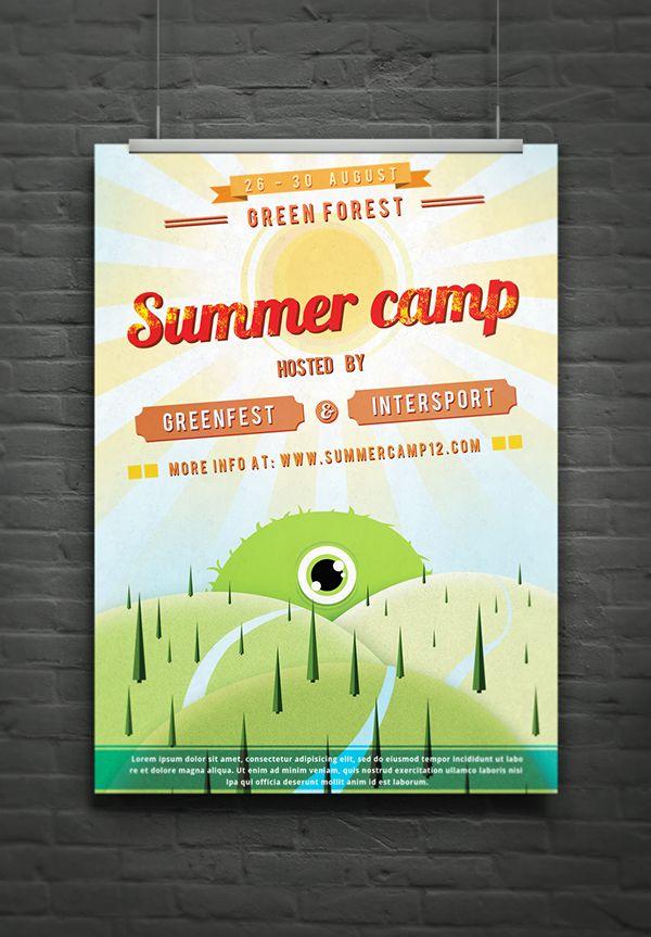 Retro Summer Camp Flyer On Behance Summer Camp Ideas Pinterest
