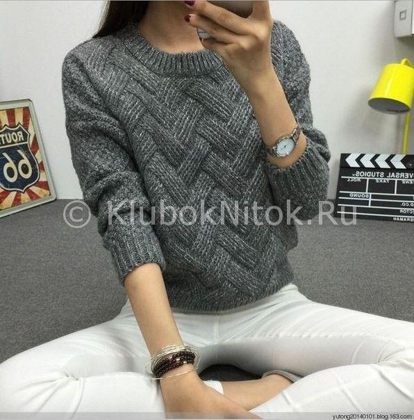 Удлиненный пуловер - схема вязания спицами. Вяжем Пуловеры