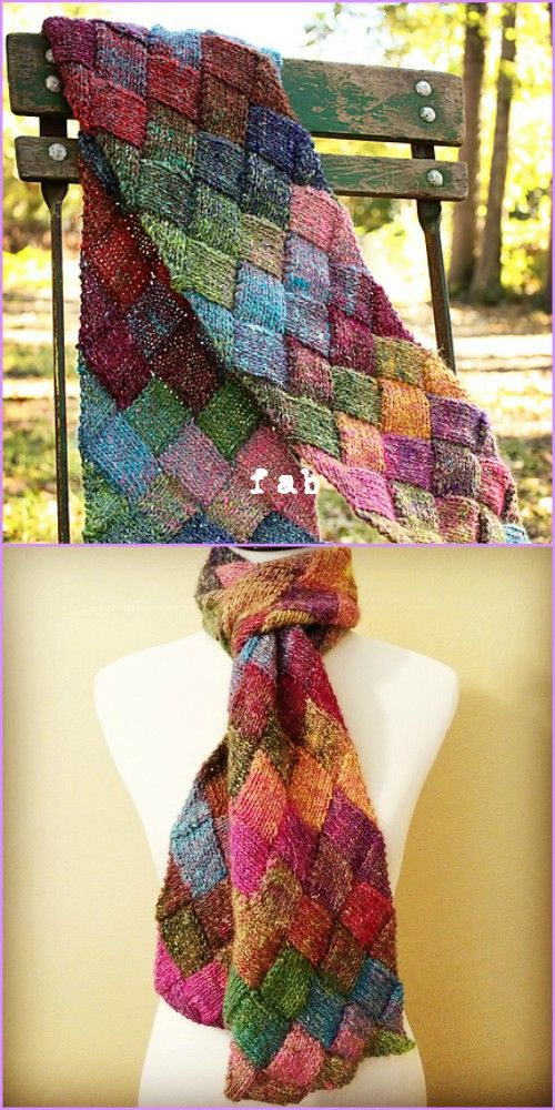 Knit Entrelac Scarf Free Pattern With Video Tutorial Free Pattern