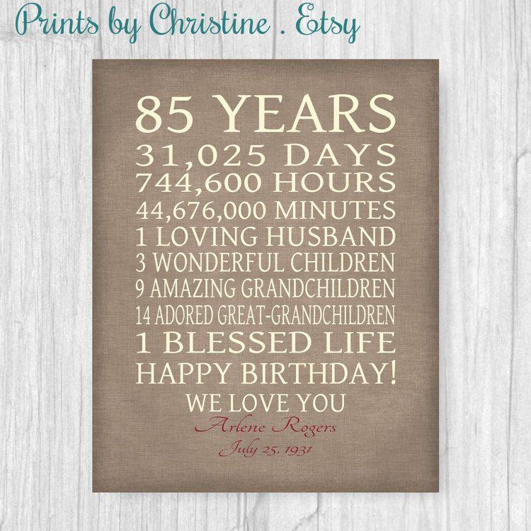 85th BIRTHDAY GIFT Sign Print Personalized By PrintsbyChristine