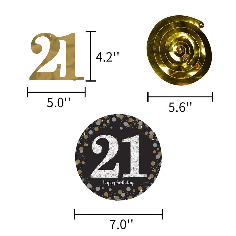 21st Birthday Decorations Kit - Happy Birthday Banner, 12Pcs