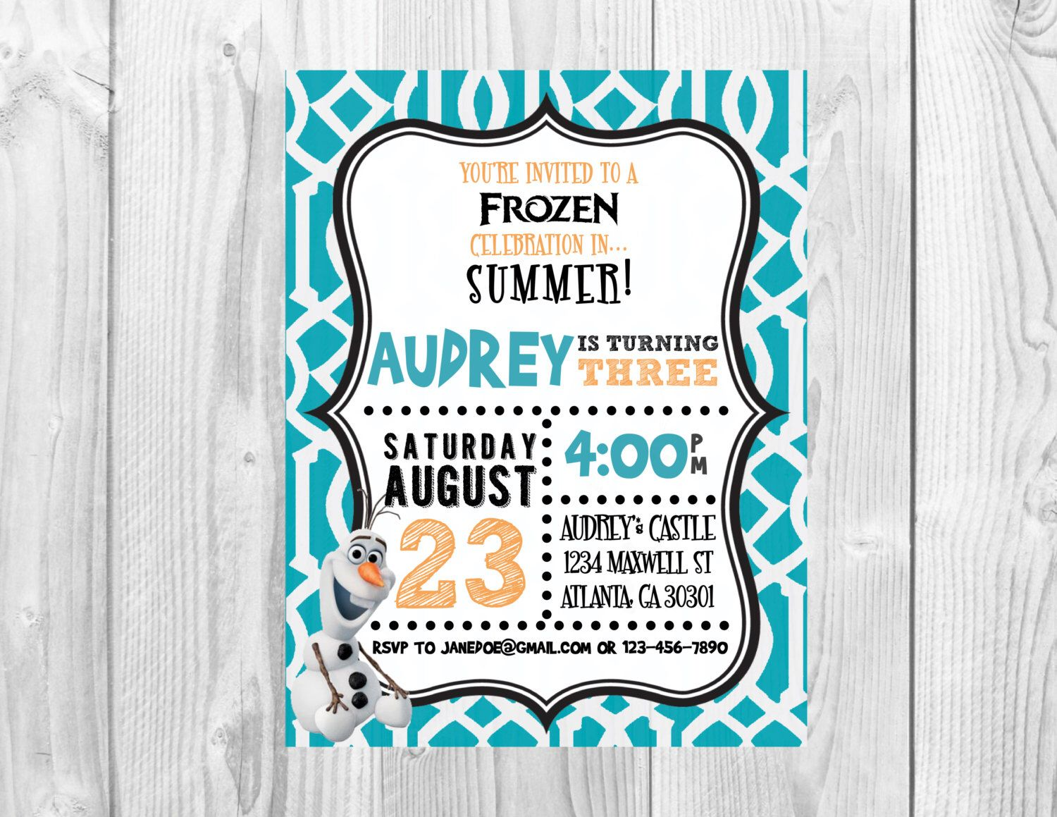 Frozen Birthday Party Invitation >> Olaf Birthday Party >> Summer ...