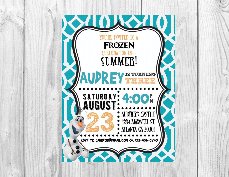 Frozen Birthday Party Invitation >> Olaf Birthday Party >> Summer ...