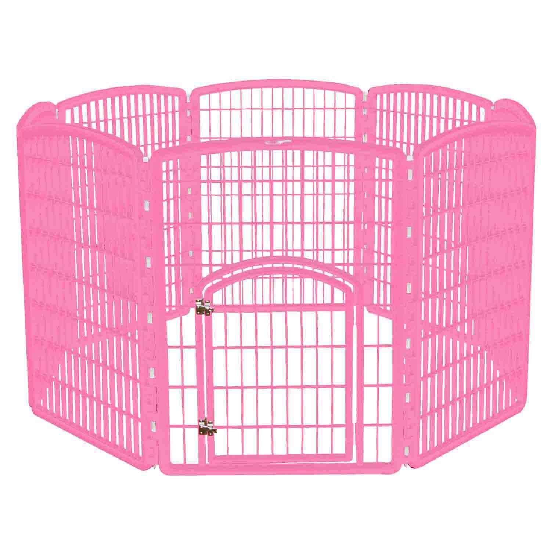 Iris Pink Eight Panel Pet Containment Pen With Door 63 L X 63