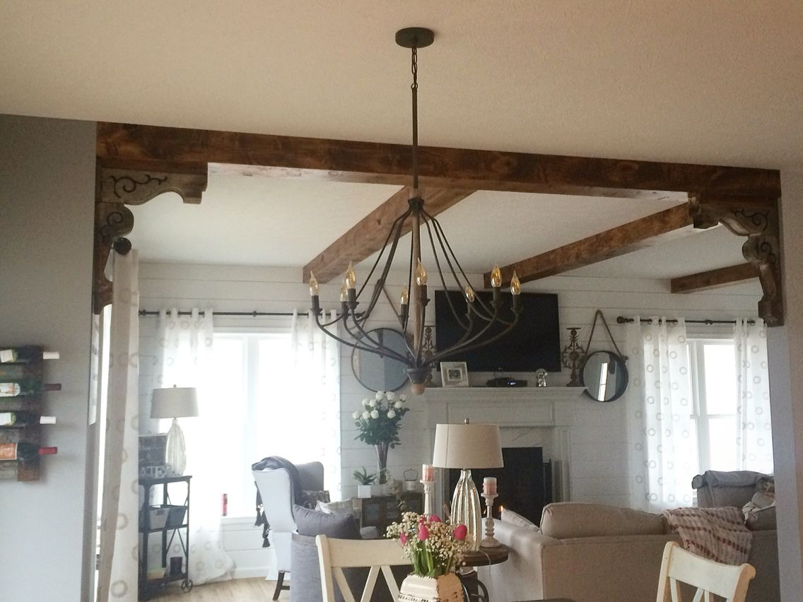 This Is Exactly What I Want Corbels With Beam Separating The Living Room From The Kitchen Living Room Corner Decor Living Room Remodel Trendy Living Rooms