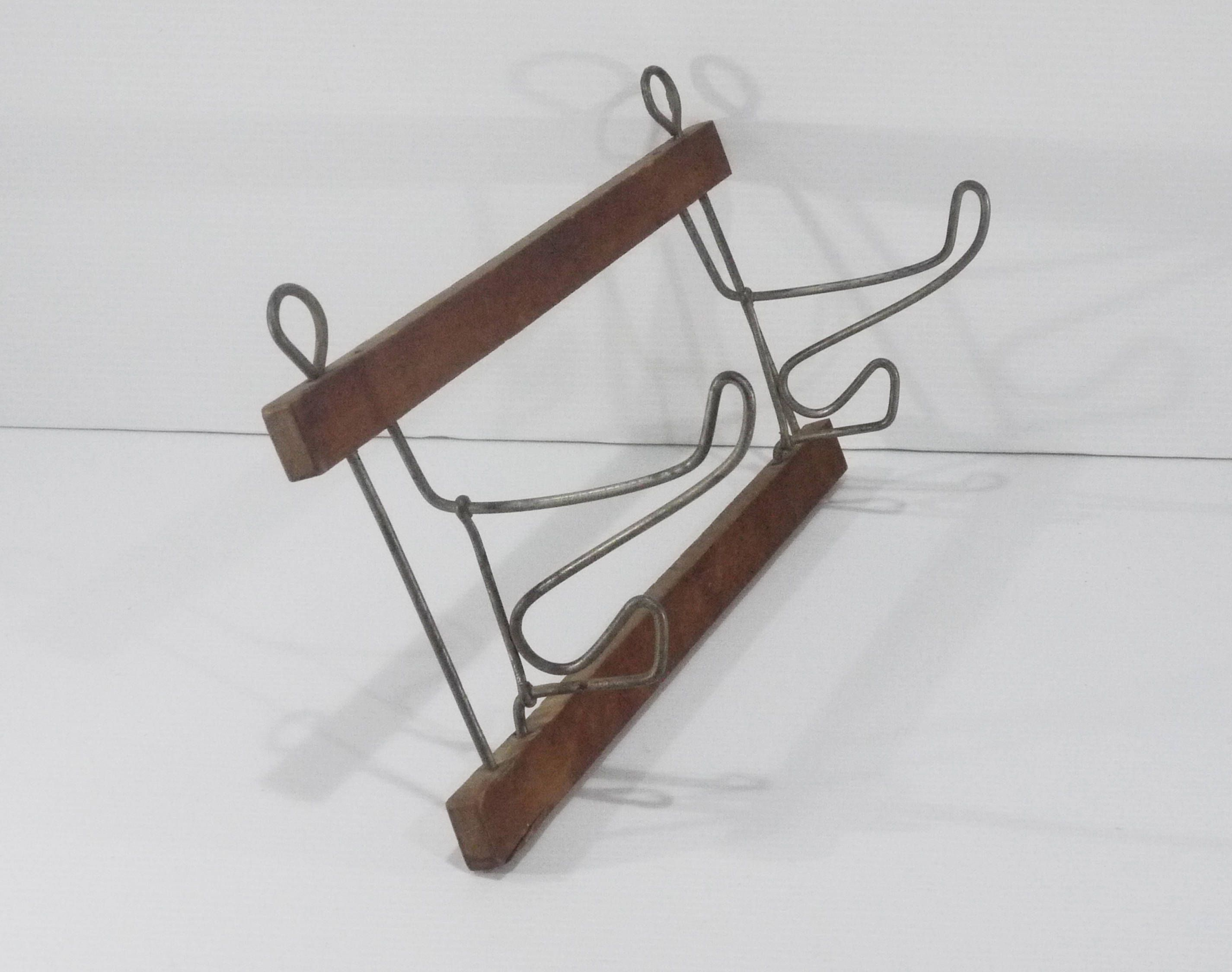 Vintage French Coat Rack 2 Movable Folding Twisted Wire Hooks Towel ...