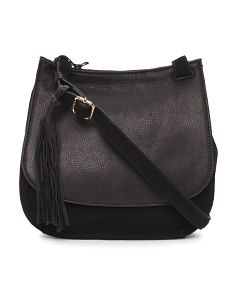 Sandy Suede And Leather Saddle Bag
