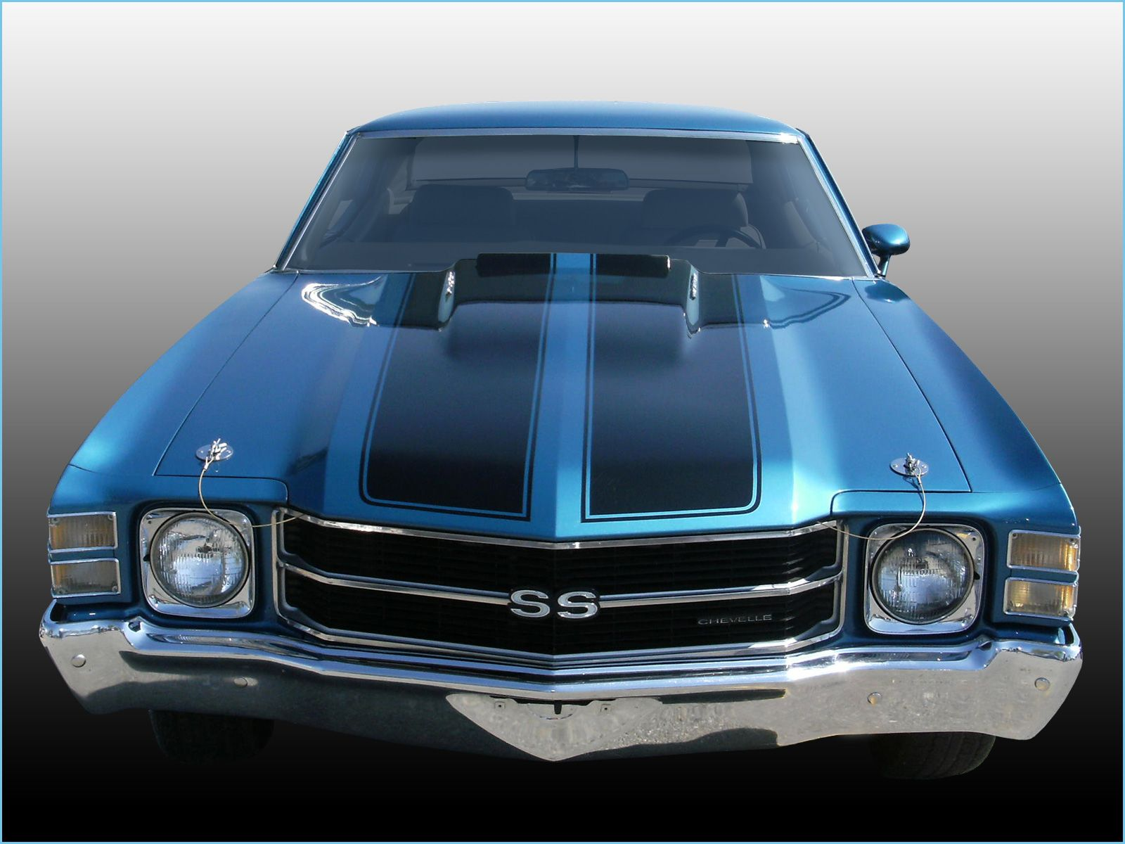 Chevelle Ss Blue Coupe Front View Chevelle Muscle Cars High