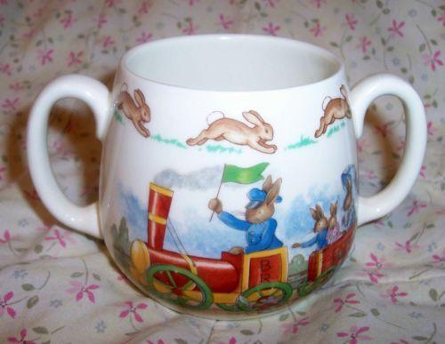 Royal Doulton Bone China Train Bunnykins 2 Handle Child Mug Bunny Rabbit Ex Ebay China Train Mugs Bone China