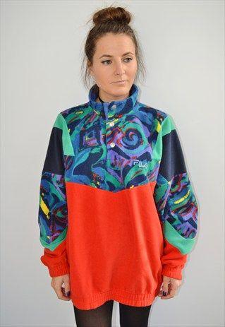 a8f4d9c9f0ea 90 S+FILA+Crazy+Pattern++Vintage+Fleece+Jacket