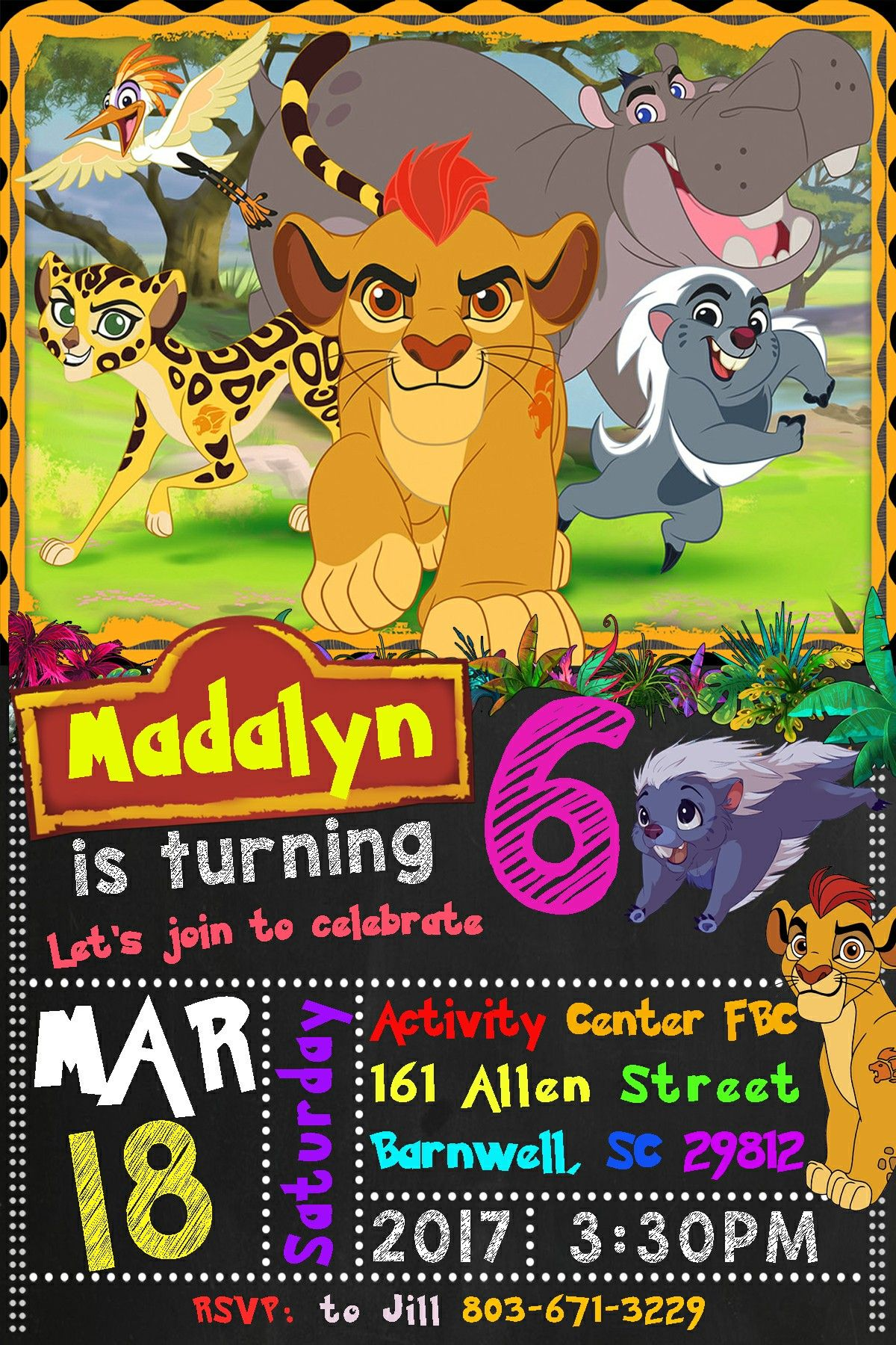 Lion Guard Birthday Party Invitation Found On Etsy From
