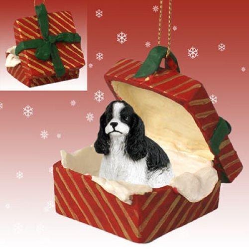 Cocker Spaniel Black White Dog Red Gift Box Ornament