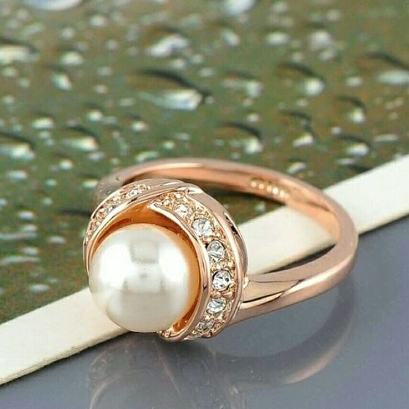 Ring wedding jewelry rose gold plate elements SWA Austrian crystal ring female feminine Anel 2015 size 8 Jewelry Rings