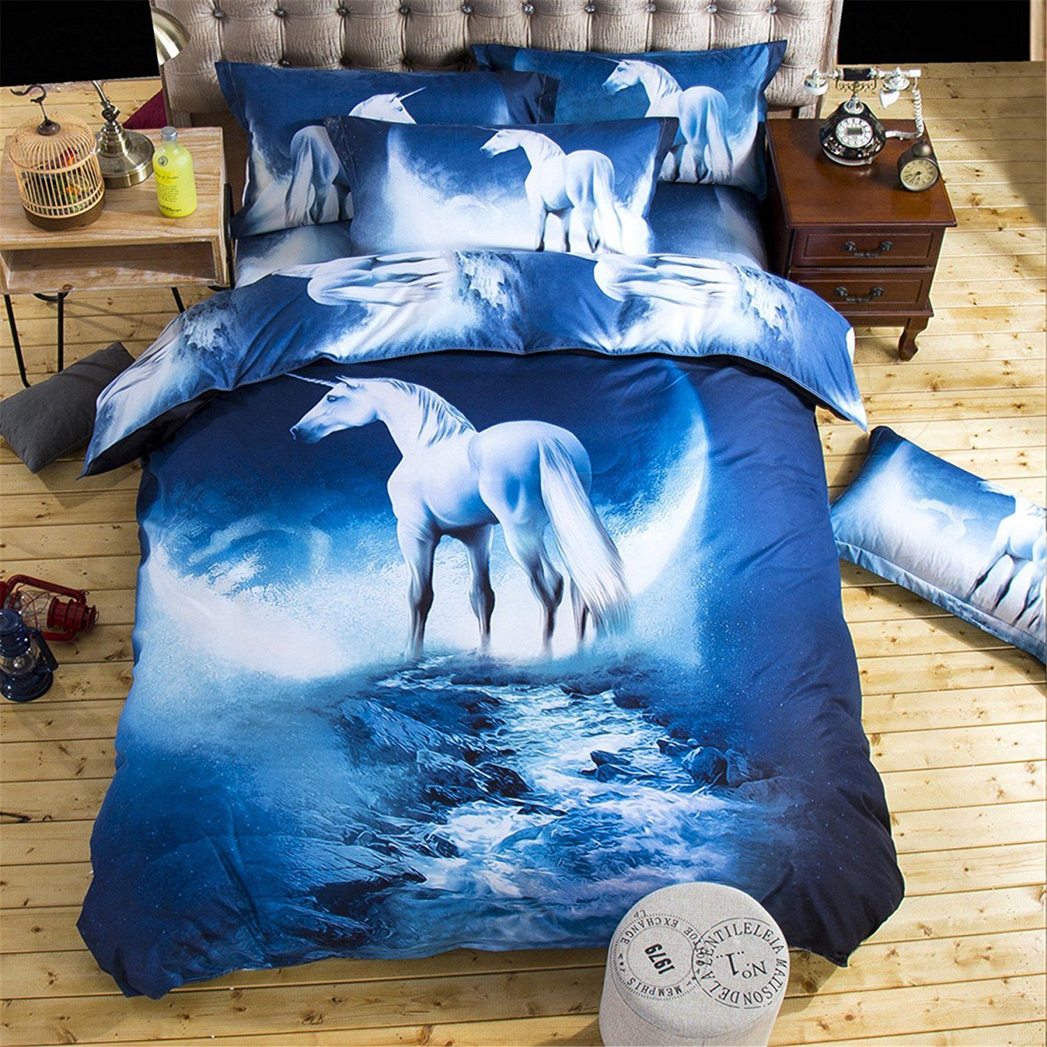 3D Galaxy Horse Printed Duvet Cover Sets Kids Bedding for Boys and ...