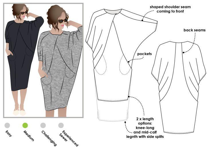 Abito con manica a scialle | cartamodello | Pinterest | Costura ...