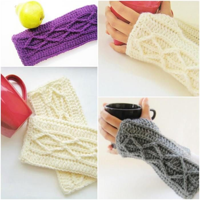 Adeline Fingerless Mitts with Faux Cables [Free Crochet Pattern ...