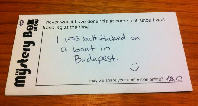 "Today's confession card is brought to you by the letter ""B"""