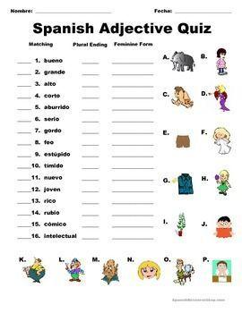 Spanish Adjectives | Worksheet | Education.com