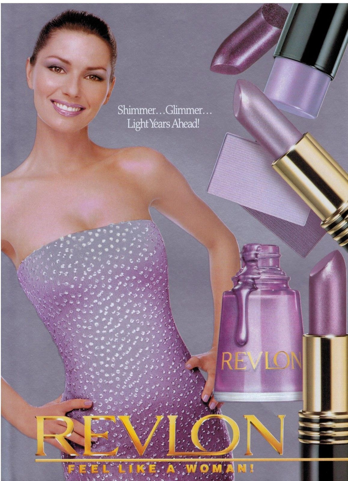1999 Shania Twain For Revlon Feel Like A Woman Magazine Print Ad