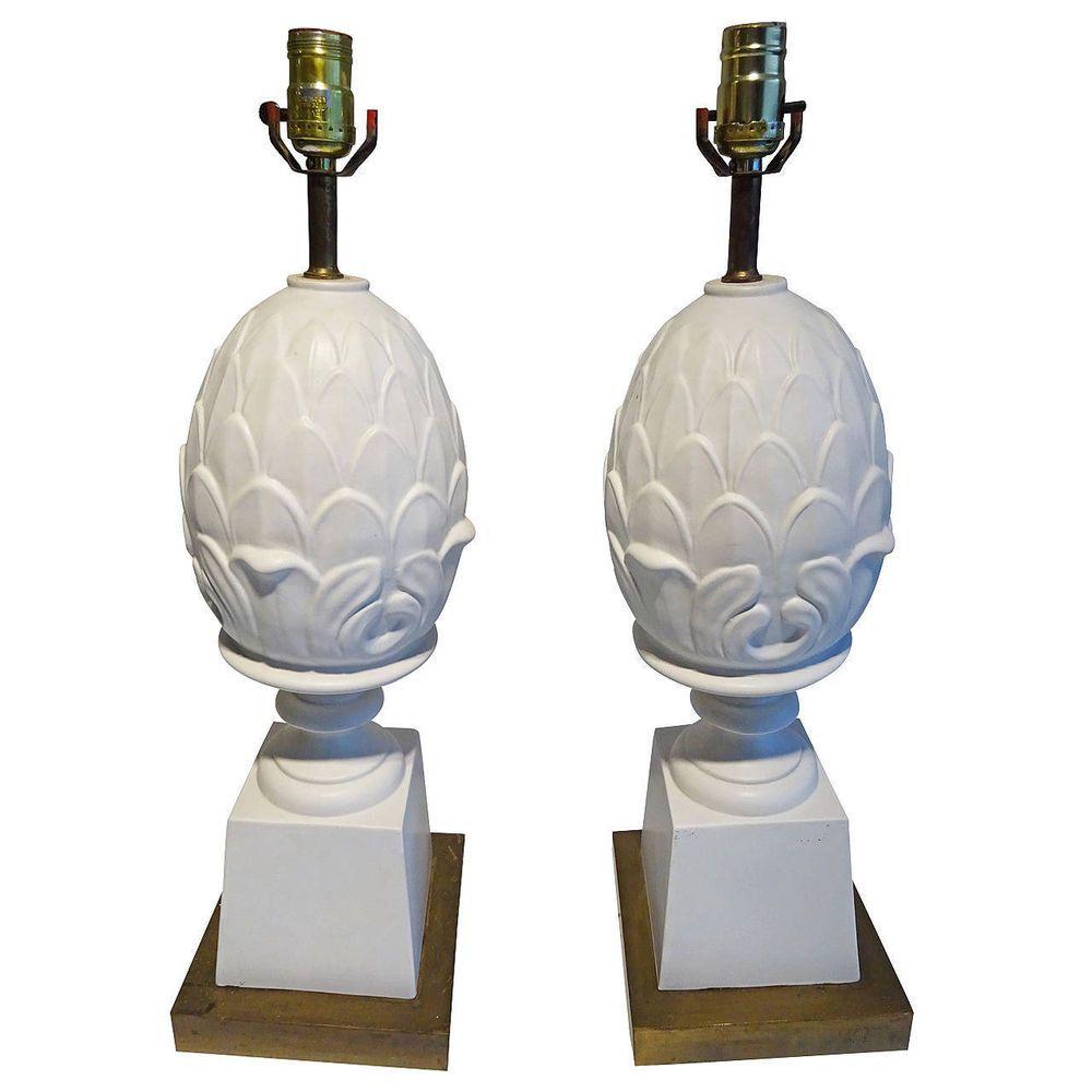 Pair Of Ceramic Artichoke Table Lamps Circa 1960s