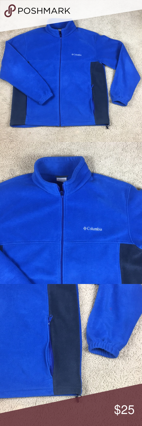Columbia blue full zip fleece sweater sz xl my posh picks