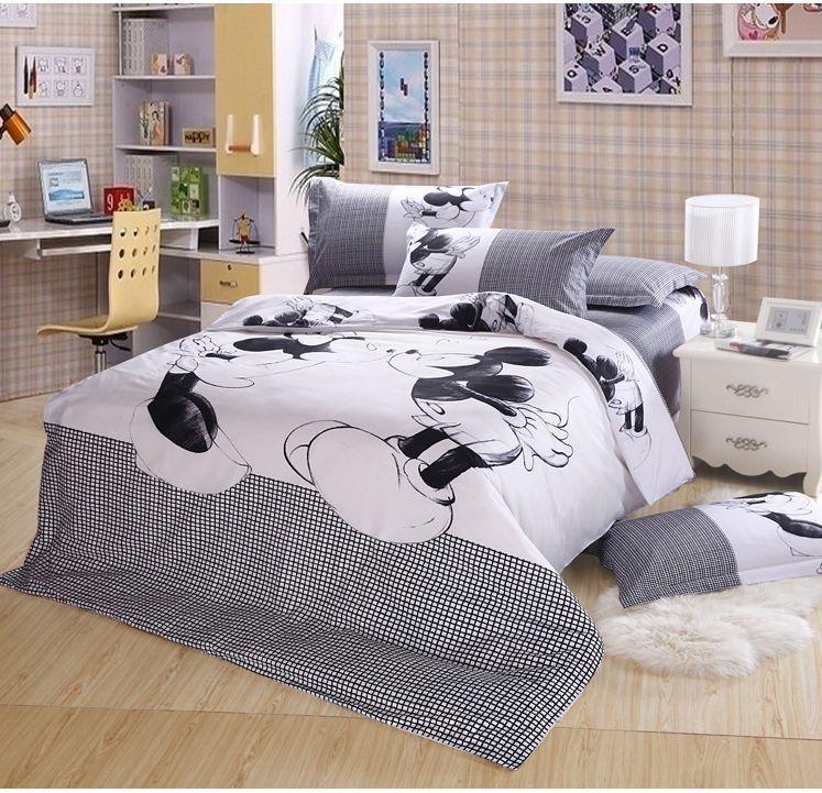 5pcs White Mickey Mouse 100 Cotton Comforter Sets Quilt Cover Sets