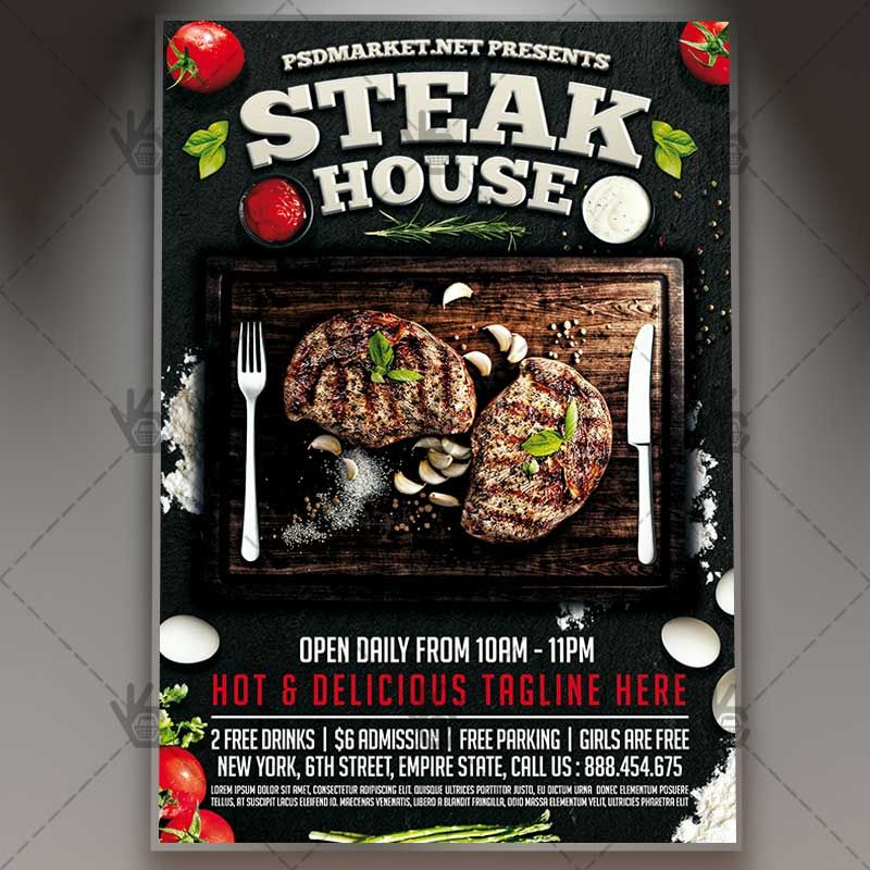 Steak House  Premium Flyer Psd Template Bar Barbecue Bbq