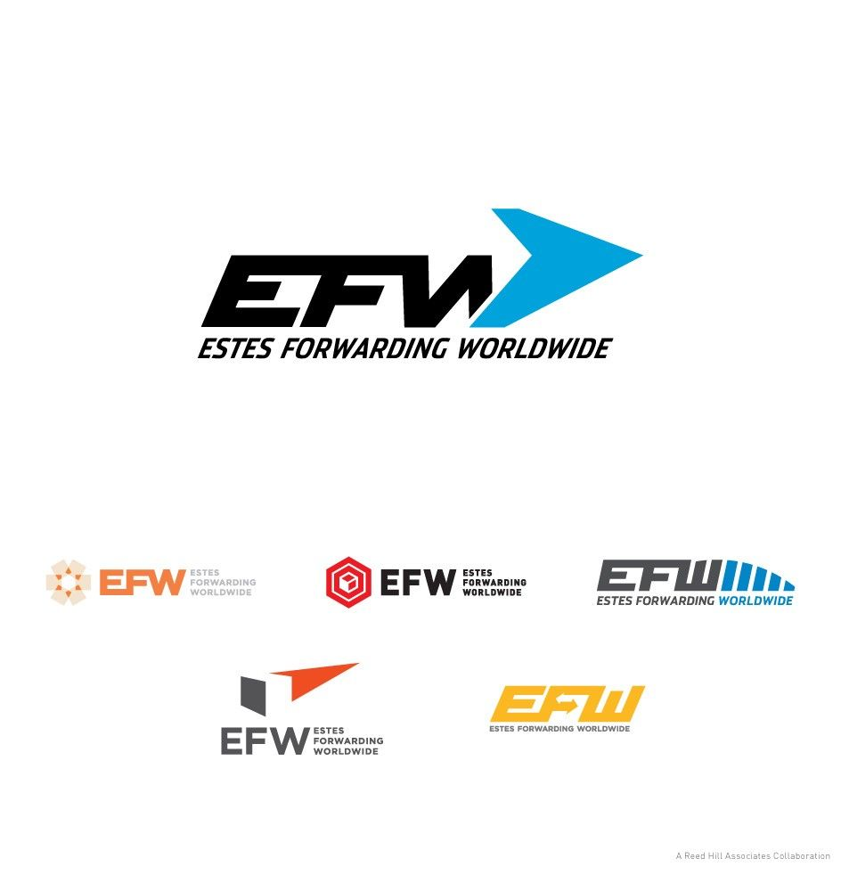 Efw estes forwarding worldwide global freight logistics re brand branding logo identity ups fedex old dominion delivery train truck ship shipping logos
