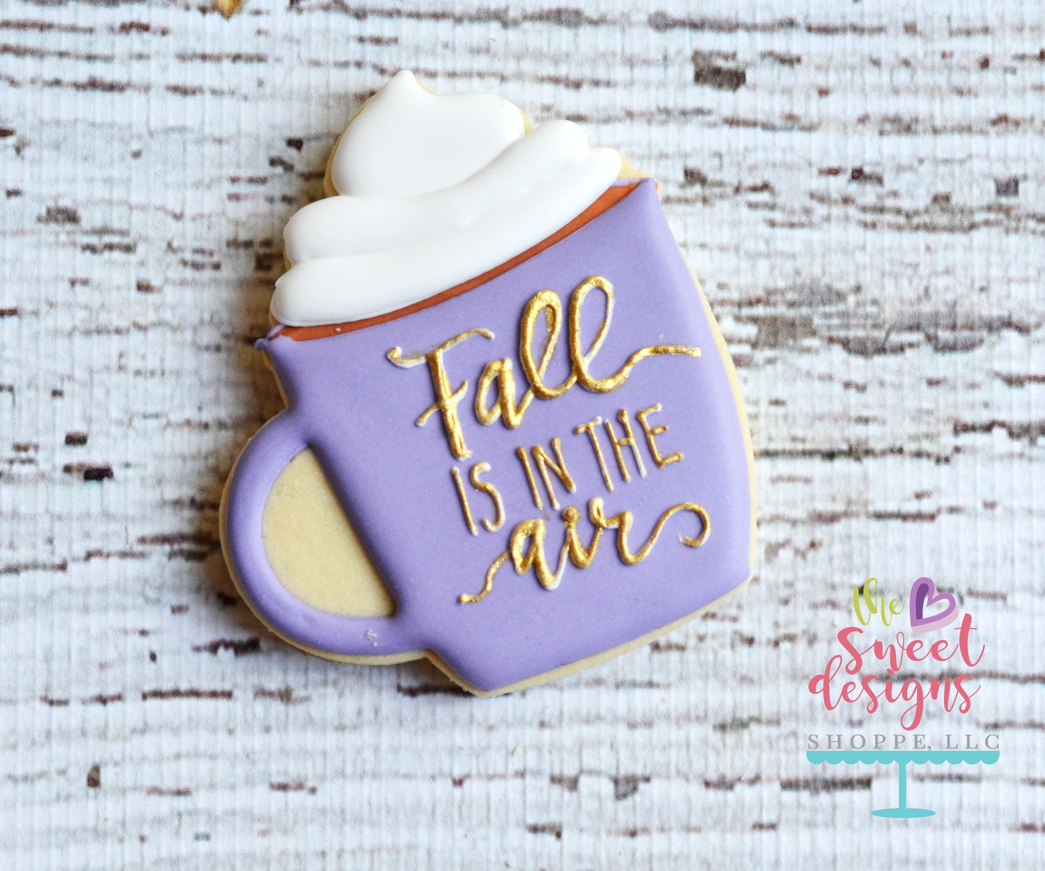 Coffee cup with whip v2 cutter cookie decorating