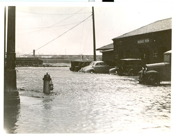 State St. Railroad station with flooded street after the 1938 hurricane