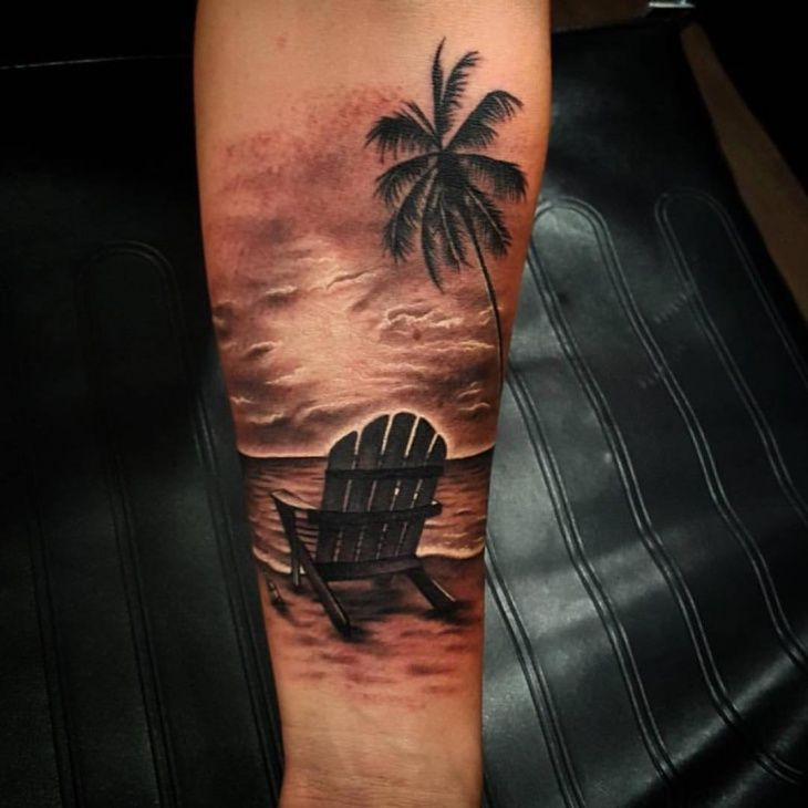 21 Beach Tattoo Designs Ideas Beach Tattoo Palm Tattoos Sunset Tattoos