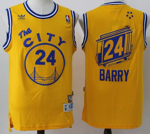newest 91500 f8d3f Warriors #24 Rick Barry Gold Throwback The City Stitched NBA ...