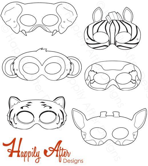 Jungle Animals Coloring Masks, monkey mask, elephant mask